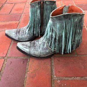 Dan Post - Turquoise Fringe Western Booties